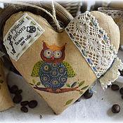 """Подарки к праздникам ручной работы. Ярмарка Мастеров - ручная работа Кофейные сердечки """"Совята"""". Handmade."""