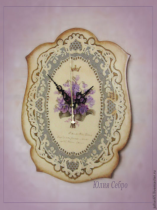 "Часы для дома ручной работы. Ярмарка Мастеров - ручная работа. Купить Часы ""Les violettes royaux"". Handmade. Часы"