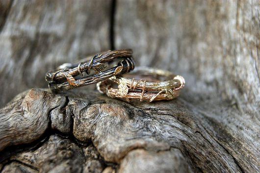 """Кольца ручной работы. Ярмарка Мастеров - ручная работа. Купить Обручальные кольца """"Слияние"""".. Handmade. Обручальные кольца, разноцветный"""
