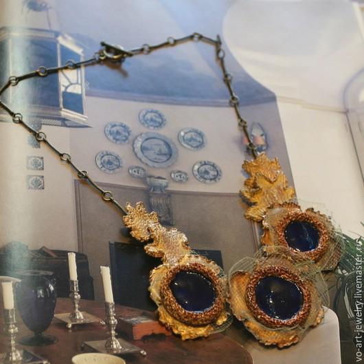 """Колье, бусы ручной работы. Ярмарка Мастеров - ручная работа. Купить ожерелье """"Осень"""". Handmade. Тёмно-синий, украшение на шею"""