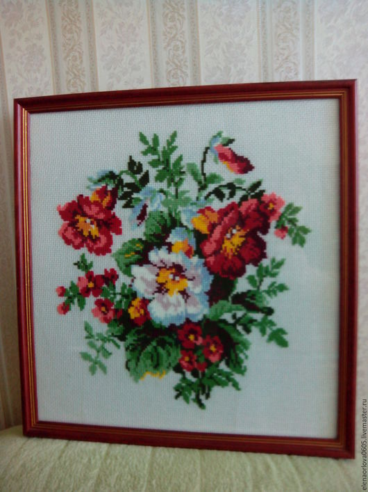 Картины цветов ручной работы. Ярмарка Мастеров - ручная работа. Купить Вышитая картина Маки. Handmade. Комбинированный