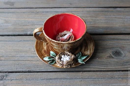 """Сервизы, чайные пары ручной работы. Ярмарка Мастеров - ручная работа. Купить Чайная пара """"Семейное гнездышко"""" №24. Handmade."""