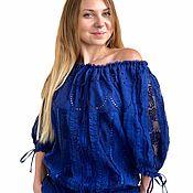 handmade. Livemaster - original item Dress iris blue cotton embroidery and lace. Handmade.