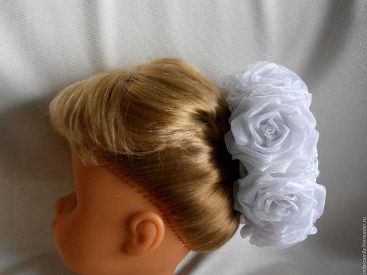 """Заколки ручной работы. Ярмарка Мастеров - ручная работа. Купить Сеточка для волос """"Белоснежка"""".. Handmade. Белый, школьница, осень, розы"""