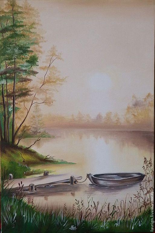 Пейзаж ручной работы. Ярмарка Мастеров - ручная работа. Купить Пейзаж. Handmade. Коричневый, лодка, Живопись, спокойствие, холст на подрамнике