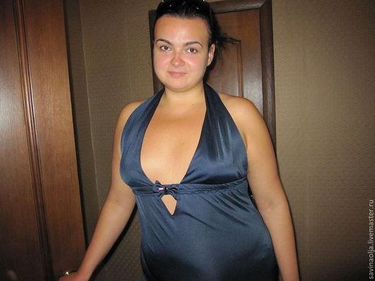 """Платья ручной работы. Ярмарка Мастеров - ручная работа. Купить летнее синее коктельное платье """"Вояж"""". Handmade. Открытая спина"""