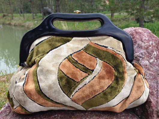 Винтажные сумки и кошельки. Ярмарка Мастеров - ручная работа. Купить Плюшевая  винтажная сумочка из 1970-х годов.. Handmade. Хаки