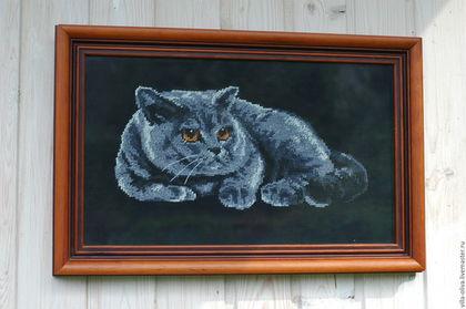 Животные ручной работы. Ярмарка Мастеров - ручная работа. Купить Кот картина вышивка счетный крест черный фон. Handmade.