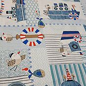 """Ткани ручной работы. Ярмарка Мастеров - ручная работа Детская ткань  бязь для шитья  хлопок 100% """"Кораблики"""". Handmade."""