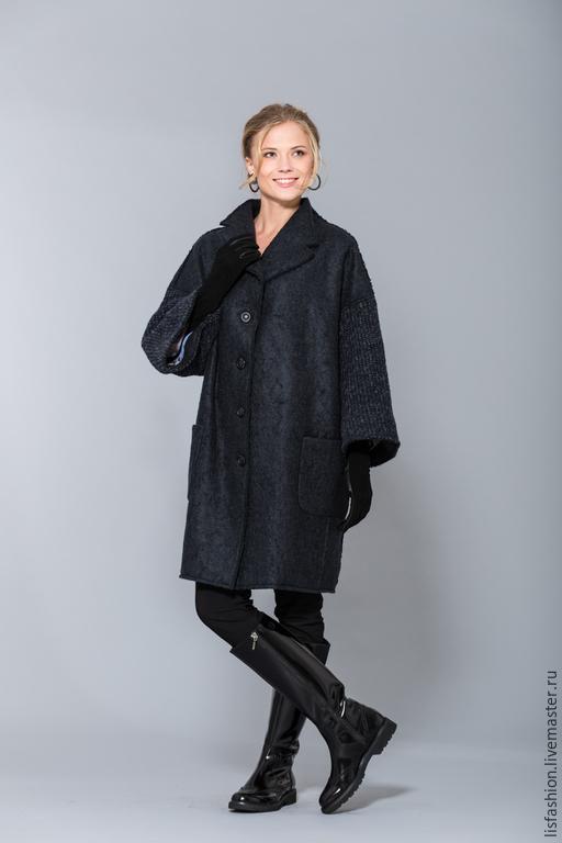 Верхняя одежда ручной работы. Ярмарка Мастеров - ручная работа. Купить Пальто 1525Z. Handmade. Тёмно-синий, пальто на заказ