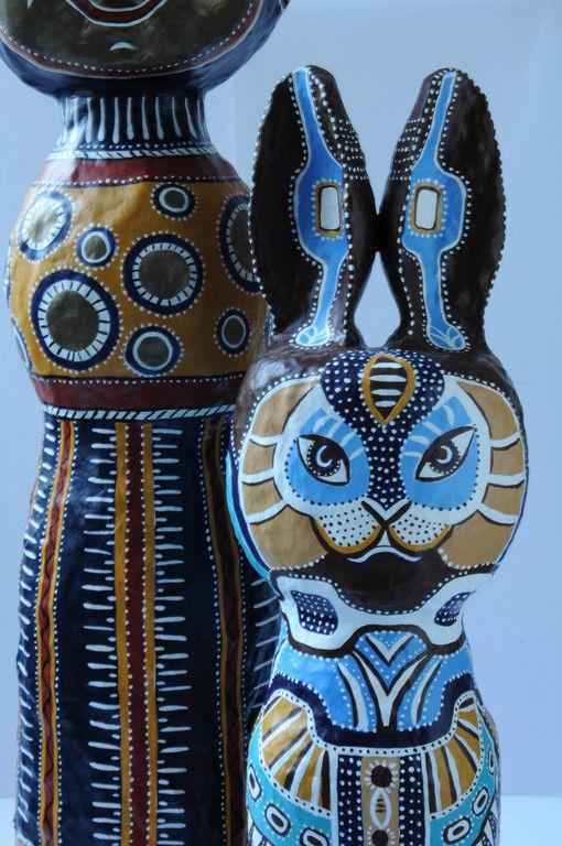 Человечки ручной работы. Ярмарка Мастеров - ручная работа. Купить Заяц сине-охристый. Handmade. Зайцы, папье-маше