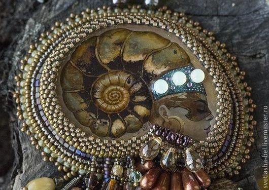 Комплекты украшений ручной работы. Ярмарка Мастеров - ручная работа. Купить Аммонит. Handmade. Коричневый, масляные краски, агат натуральный