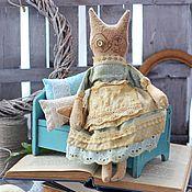 Куклы и игрушки ручной работы. Ярмарка Мастеров - ручная работа Винтажная кошка. Кофейная игрушка. Примитив.. Handmade.