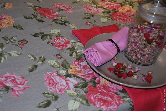 """Текстиль, ковры ручной работы. Ярмарка Мастеров - ручная работа. Купить Скатерть льняная """"Розовые розы"""". Handmade. Серый"""