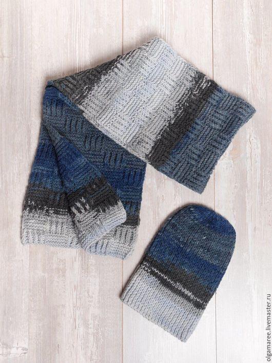 Комплекты аксессуаров ручной работы. Ярмарка Мастеров - ручная работа. Купить Комплект вязаный ( шапка+шарф) для мужчин. Handmade. Комбинированный