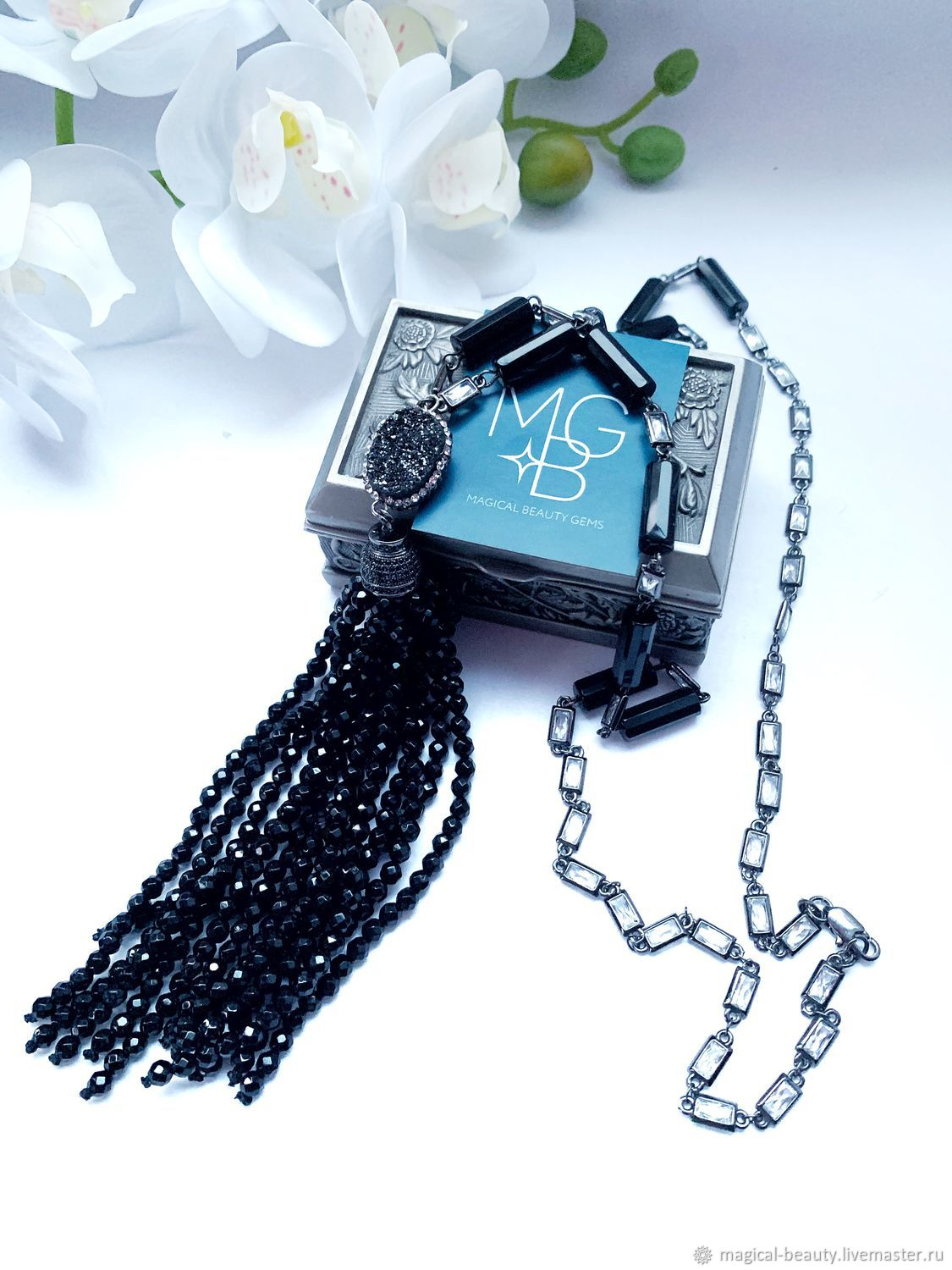 with pendant with black agate, Necklace, Moscow,  Фото №1