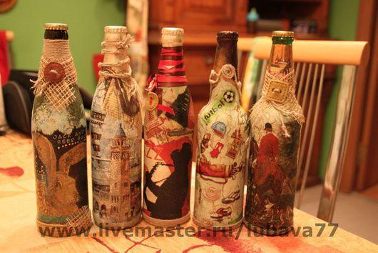 Подарочное оформление бутылок ручной работы. Ярмарка Мастеров - ручная работа. Купить Подарки для настоящих мужчин. Handmade. Акрил, бумага