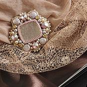 """Украшения handmade. Livemaster - original item """"Milk liqueur"""" - brooch with lepidolite, crystals and pearls. Handmade."""