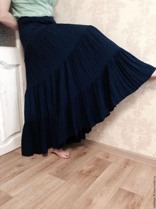 """Юбки ручной работы. Ярмарка Мастеров - ручная работа. Купить Юбка в пол """"Звездное небо"""". Handmade. Тёмно-синий, штапель"""