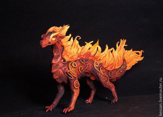 Персональные подарки ручной работы. Ярмарка Мастеров - ручная работа. Купить Огненный элементный дракон фигурка игрушка дракончик. Handmade.
