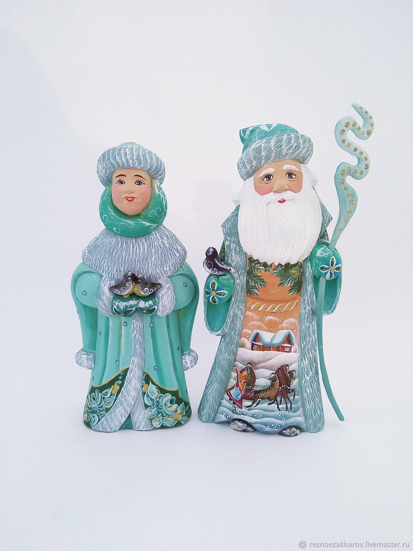 Дед Мороз и Снегурочка Малахитовый кафтан(деревянные), Дед Мороз и Снегурочка, Рошаль,  Фото №1