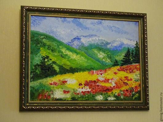 Пейзаж ручной работы. Ярмарка Мастеров - ручная работа. Купить Альпийские луга. Handmade. Голубой, горы, картина для интерьера