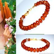 Украшения handmade. Livemaster - original item Bracelet made of natural carnelian gold. Handmade.