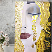 Картины и панно handmade. Livemaster - original item Painting Golden tears (Tears of Freya) in the style of Gustav Klimt, portrait. Handmade.