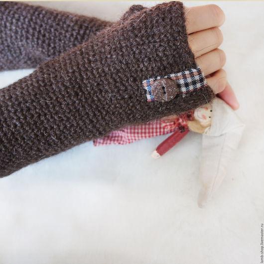 Варежки, митенки, перчатки ручной работы. Ярмарка Мастеров - ручная работа. Купить Теплые-теплые перчатки. Handmade. Коричневый