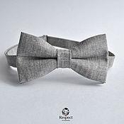 Аксессуары handmade. Livemaster - original item Tie rancher / textured bow tie grey linen. Handmade.