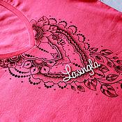 Одежда ручной работы. Ярмарка Мастеров - ручная работа Розовая футболка в стиле мехенди/восток. Handmade.