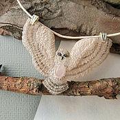 Украшения ручной работы. Ярмарка Мастеров - ручная работа Кулон сова с розовым кварцем (натуральный камень) бежевая. Handmade.