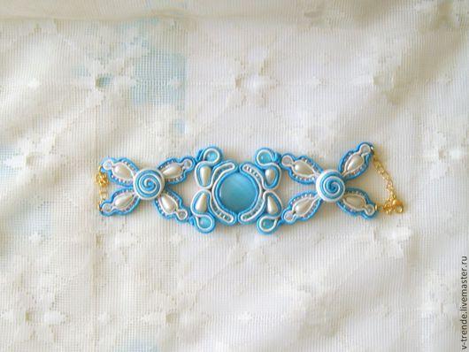 """Браслеты ручной работы. Ярмарка Мастеров - ручная работа. Купить Браслет """"Лазурь"""". Handmade. Сутаж, голубой, для девушки, браслет, на праздник"""