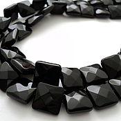 Материалы для творчества handmade. Livemaster - original item Agate black faceted bead 14mm squares. Handmade.
