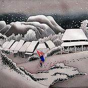 Картины и панно ручной работы. Ярмарка Мастеров - ручная работа Япония. Вечерний снег.. Handmade.