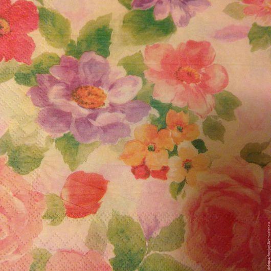 Акварельные цветы в дымке - салфетка для декупажа Декупажная радость