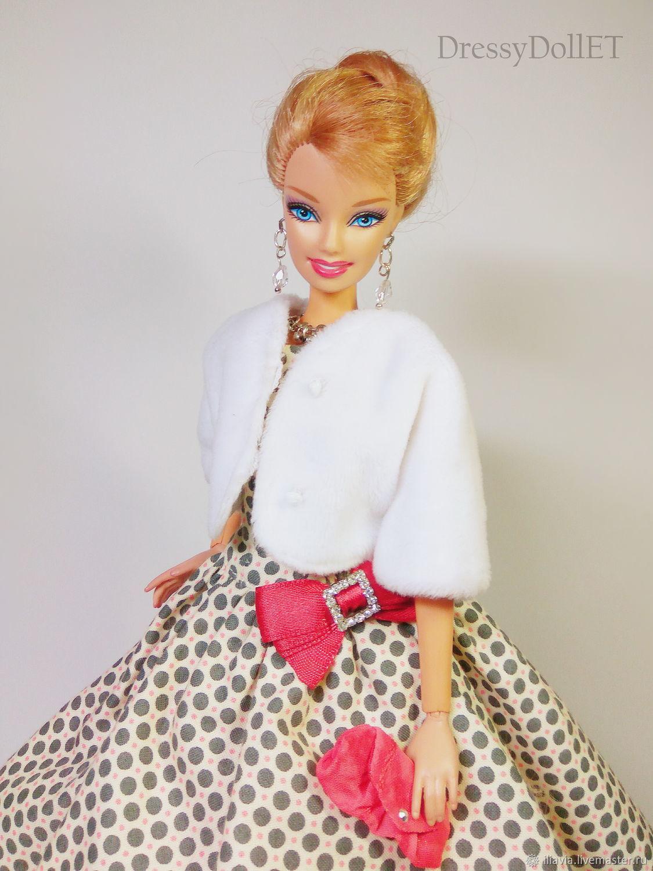 Set for Barbie : Polka dot dress in vintage style; fur coat;, Clothes for dolls, Arkhangelsk,  Фото №1