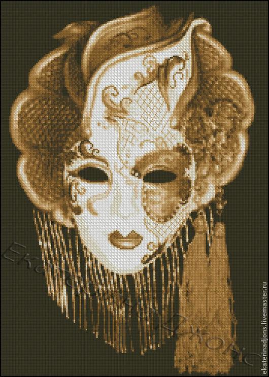 """Авторская схема вышивки крестом """"Венецианский карнавал-маска"""" (скрин схемы). Схема в 2-х вариантах: прямоугольная и овал."""