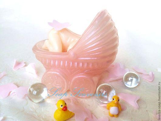 """Мыло ручной работы. Ярмарка Мастеров - ручная работа. Купить Мыло """"Колясочка"""". Handmade. Розовый, деткам, подарок"""