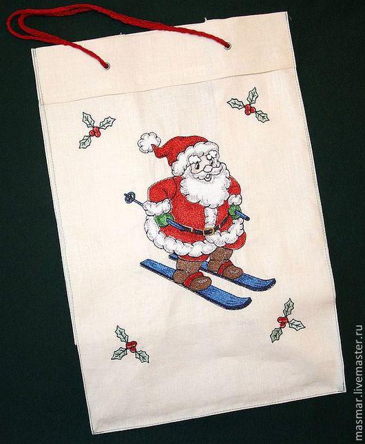 Новый год 2017 ручной работы. Ярмарка Мастеров - ручная работа. Купить Подарочная холщовая сумка с вышивкой ДЕД МОРОЗ НА ЛЫЖАХ. Handmade.