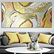 Картины и панно handmade. Livemaster - original item Interior painting in gold and silver tones sun Trap. Handmade.