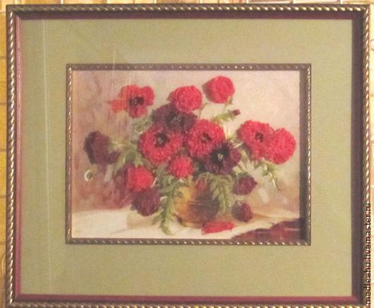 Картины цветов ручной работы. Ярмарка Мастеров - ручная работа. Купить Картина и набор  для вышивания лентами и гладью. Handmade.