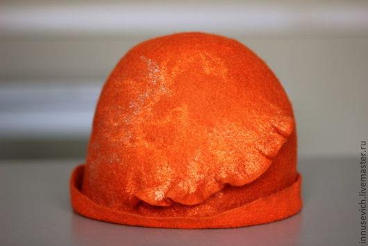 """Шляпы ручной работы. Ярмарка Мастеров - ручная работа. Купить Валяная шляпка """"Оранжевое настроение"""". Handmade. Оранжевый, валяная шляпка"""