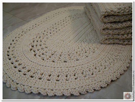 Текстиль, ковры ручной работы. Ярмарка Мастеров - ручная работа. Купить Овальный вязаный коврик ручной работы. Handmade. Коврик