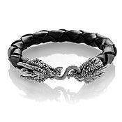 """Украшения handmade. Livemaster - original item Браслет """"Дракон"""" кожа и серебра 925 пробы. Handmade."""