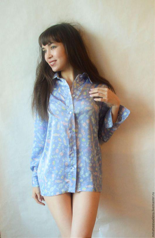 """Блузки ручной работы. Ярмарка Мастеров - ручная работа. Купить Рубашка блузка """"Конфетка"""". Handmade. Голубой, рисунок на ткани, casual"""