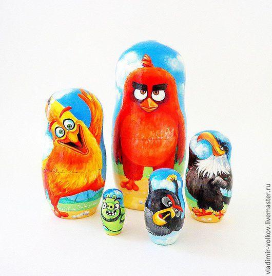 Матрешки ручной работы. Ярмарка Мастеров - ручная работа. Купить Матрешка 5 мест Angry Birds, мультяшная матрёшка Энгри Бёрдс. Handmade.