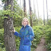 Одежда ручной работы. Ярмарка Мастеров - ручная работа Валяное пальто (курточка) синяя. Handmade.