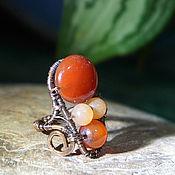 Украшения handmade. Livemaster - original item Copper ring with carnelian. Handmade.