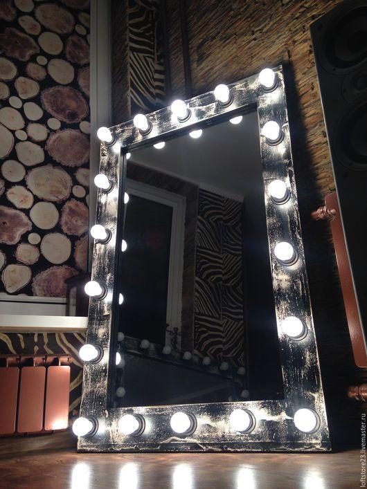 Зеркала ручной работы. Ярмарка Мастеров - ручная работа. Купить Гримерное зеркало LOFT.. Handmade. Белый, лофт интерьер, дизайн